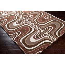 Tepper Jackson Hand-tufted Contemporary Brown Colored Swirl Dreamscape Wool Abstract Rug (8' x 11') - Thumbnail 1