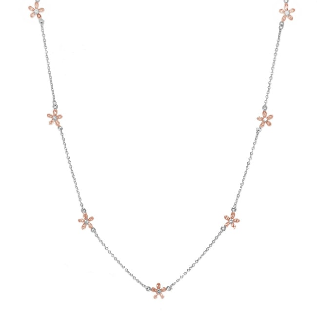 14k Rose Gold over Silver Clear Cubic Zirconia Flower Station Necklace