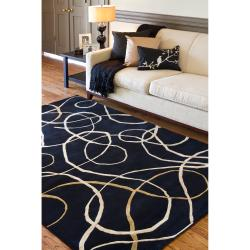 Hand-knotted Black Contemporary Swirl Grantsville Semi-Worsted New Zealand Wool Abstract Rug (9' x 1