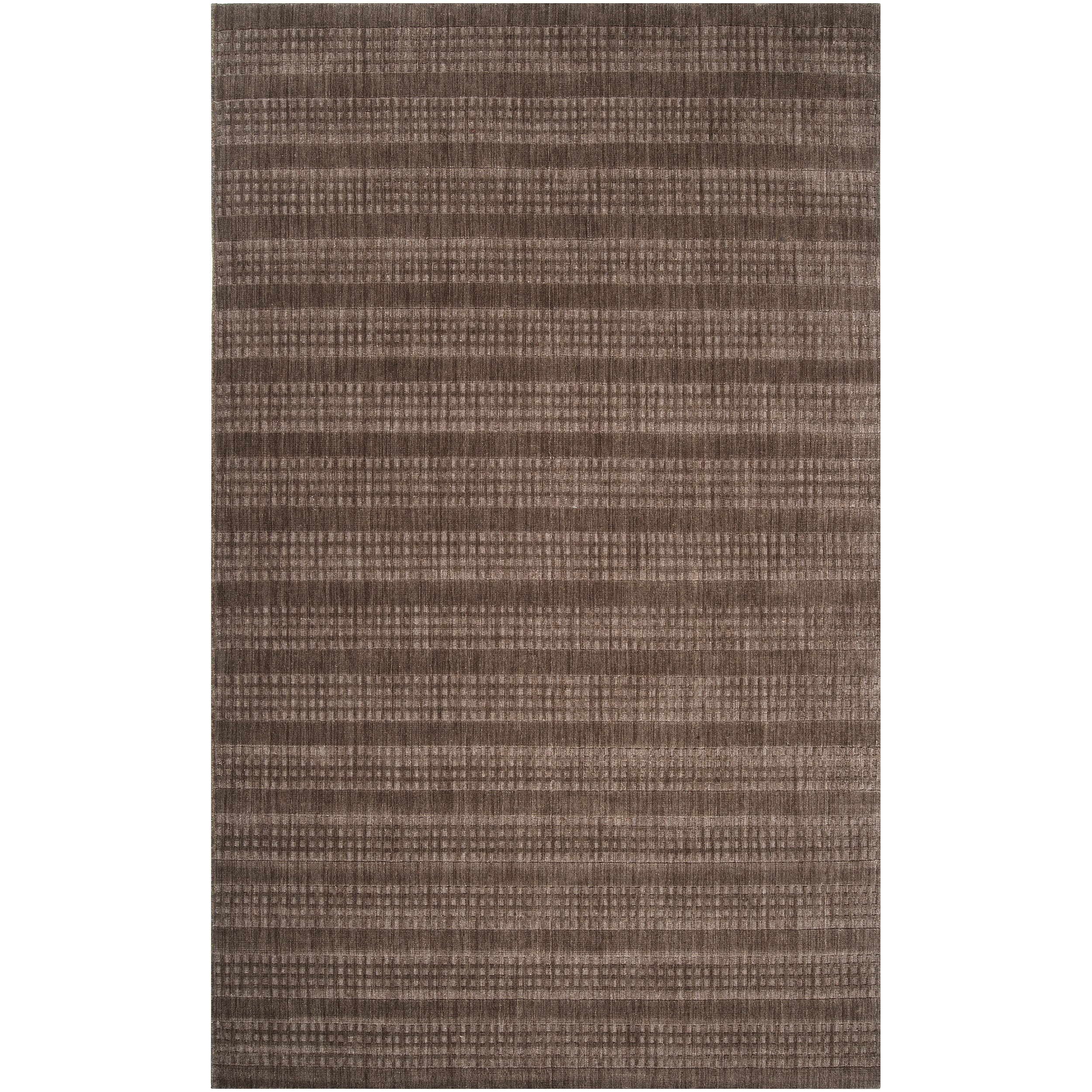 Hand-crafted Dark Brown Solid Casual Indus Valley Wool Rug (8' x11')