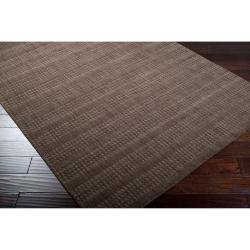 Hand-crafted Dark Brown Solid Casual Indus Valley Wool Rug (8' x11') - Thumbnail 2