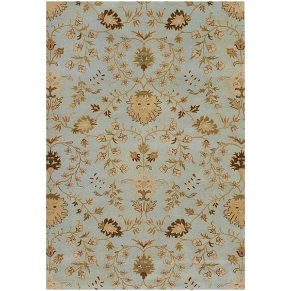 Hand-tufted Blue Wool Area Rug (5' x 8')