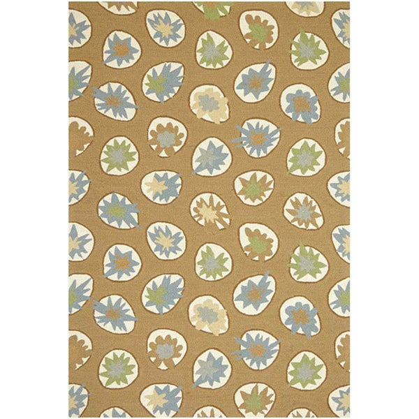 """Hand-Hooked Sand Area Rug (7'6"""" x 9'"""