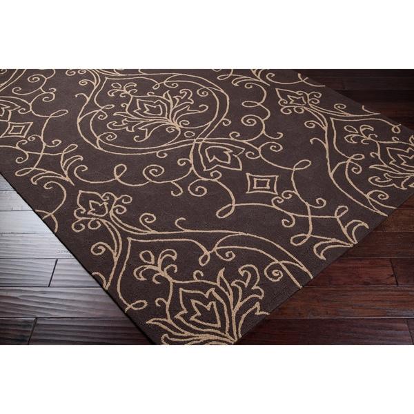 Hand-hooked Loa Indoor/Outdoor Damask Print Rug (5' x 8')