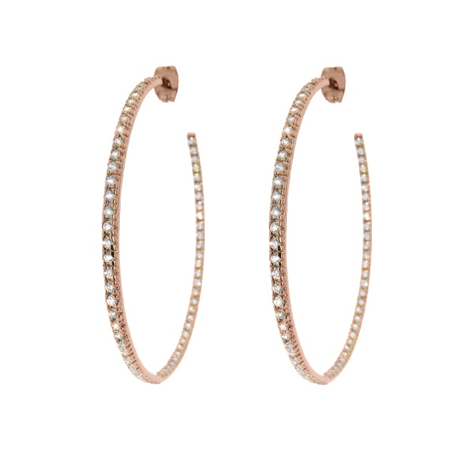 14k Rose Gold Plated Sterling Silver Clear Cubic Zirconia Inside-out Hoop Earrings