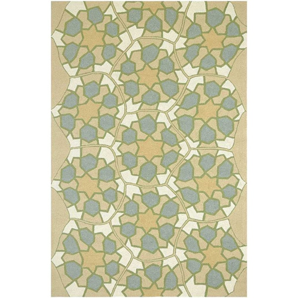 Hand Hooked Sand Area Rug (7' 6x9' 6)
