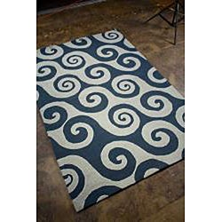 Hand-hooked Blue Area Rug (3' 6 x 5' 6) - Thumbnail 1