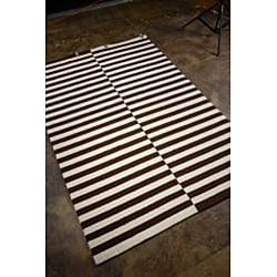 Hand-hooked Brown Area Rug (2' x 3') - Thumbnail 1