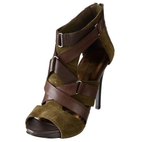 Fergie Women's 'Asbury' Olive/ Brown Leather Platform Sandals