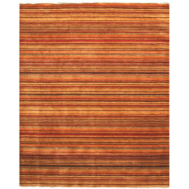 Handmade Wool Transitional Stripe Lori Toni Rug - Multi - 56 x 8 (Handmade Lori Toni Stripe Wool Rug (56 x 8))