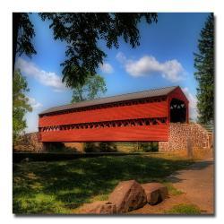 Lois Bryan 'Red Covered Bridge' Large Canvas Art
