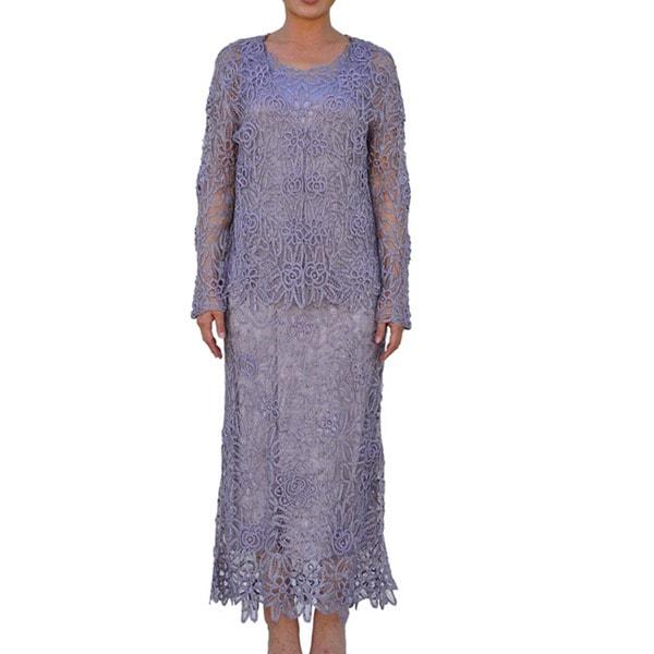 Soulmates Women's 2-piece Lavender Crochet Dress Set