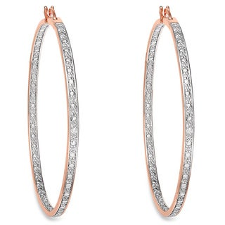 Finesque Rose 14k Gold Overlay Diamond Accent Micro Hoop Earrings