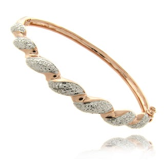 Finesque Rose Gold Overlay Diamond Accent Twist Bangle Bracelet