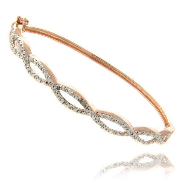 Finesque 14k Yellow or Rose Overlay Diamond Accent Infinity Bangle Bracelet