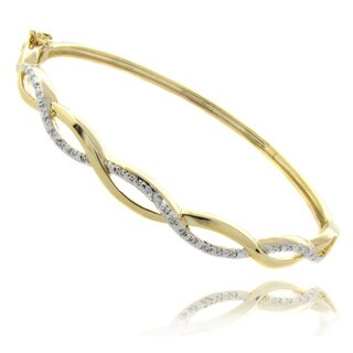 Finesque 14k Yellow or Rose Overlay Diamond Accent Infinity Bangle Bracelet (2 options available)