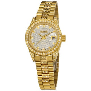 Akribos XXIV Women's Diamond Quartz Gold-Tone Bracelet Watch with FREE GIFT