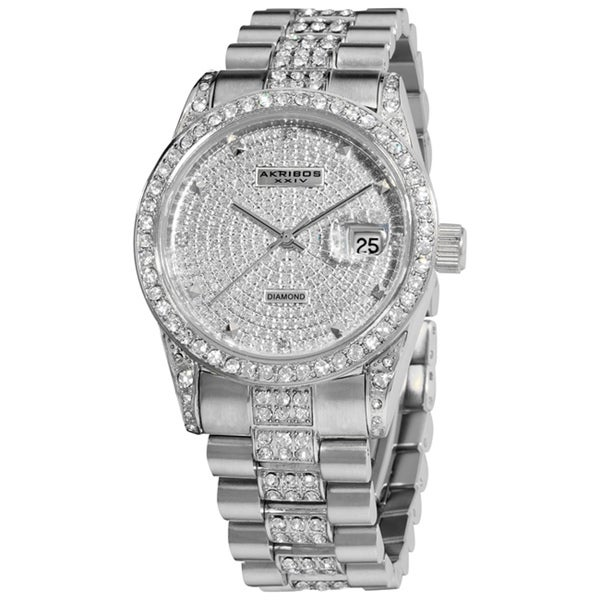 Akribos XXIV Men's Stainless Steel Diamond Accent Quartz Bracelet Watch