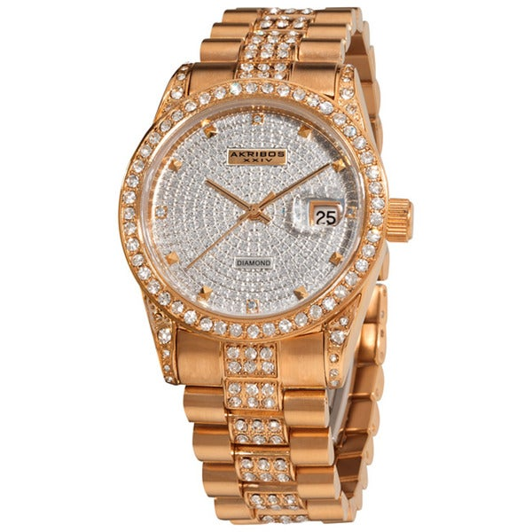 Akribos XXIV Men's Water Resistant Diamond Quartz Rose-Tone Bracelet Watch