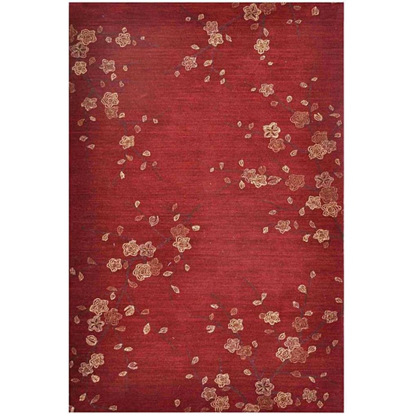 Hand-tufted Red Floral Area Rug (7'6 x 9'6)