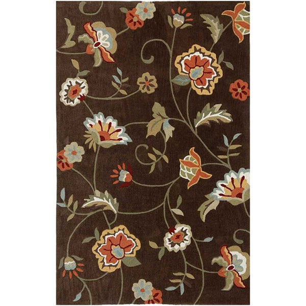 Hand-tufted Brown Floral Area Rug (2' x 3')