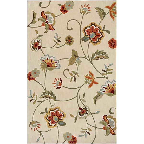 Hand-tufted Beige Floral Area Rug (7'6 x 9'6)