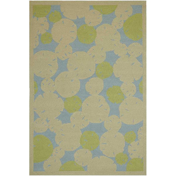 Hand-hooked Abstract Green Outdoor Rug (5' x 7'6)