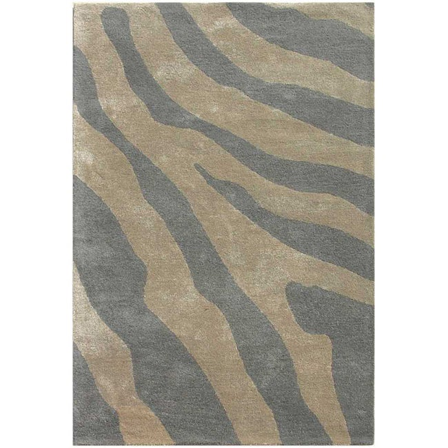 Hand-tufted Silver Wool Area Rug (8' x 11')