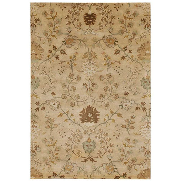 Hand-Tufted Beige/ Brown Floral Wool Area Rug (2' x 3')