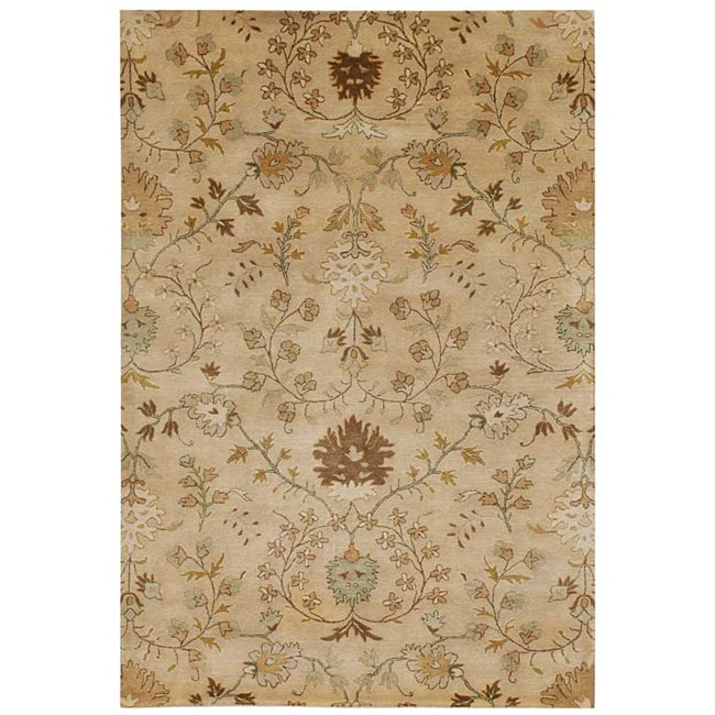 Hand-Tufted Beige/ Brown Floral Wool Area Rug (5' x 8')