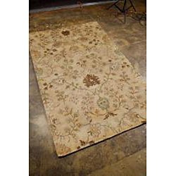 Hand-Tufted Beige/ Brown Floral Wool Area Rug (8' x 11') - Thumbnail 1