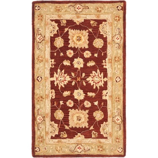 Safavieh Handmade Anatolia Oriental Farahan Red/ Sage Green Hand-spun Wool Rug (3' x 5')