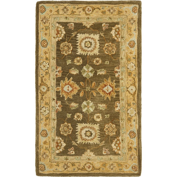 Safavieh Handmade Anatolia Oriental Farahan Brown/ Taupe Hand-spun Wool Rug (3' x 5')