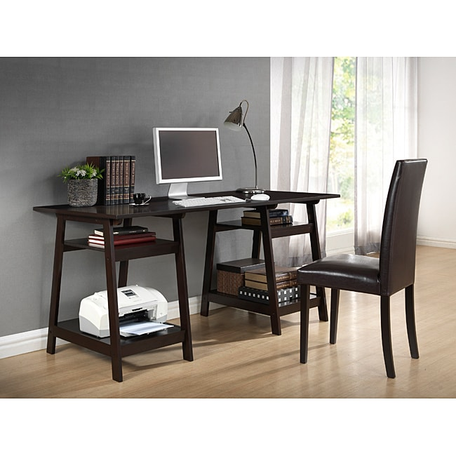Mott Dark Brown Wood Modern Desk with Sawhorse Legs (Large) - Thumbnail 0