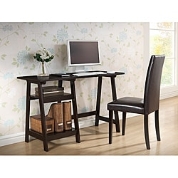 mott dark brown wood modern desk with sawhorse legs (small) - free