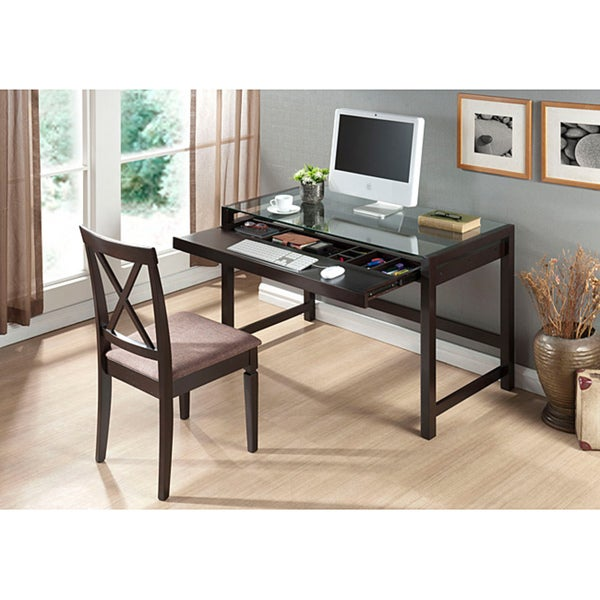 Wood Desk With Glass Top Part - 26: Idabel Dark Brown Wood Modern Desk With Glass Top