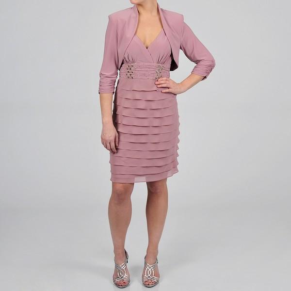 S.L. Fashions Women's Rose Tiered Jacket Dress