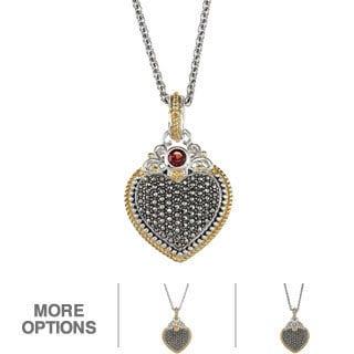 MARC Sterling Silver Semi Precious Stone Marcasite Heart Pendant