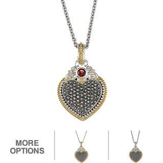MARC 14K Yellow Gold Flasing Edge over Sterling Silver Semi-precious stone and Marcasite Heart Pendant (3 options available)
