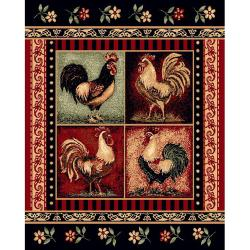 Black Rooster Area Rug (5'x7')