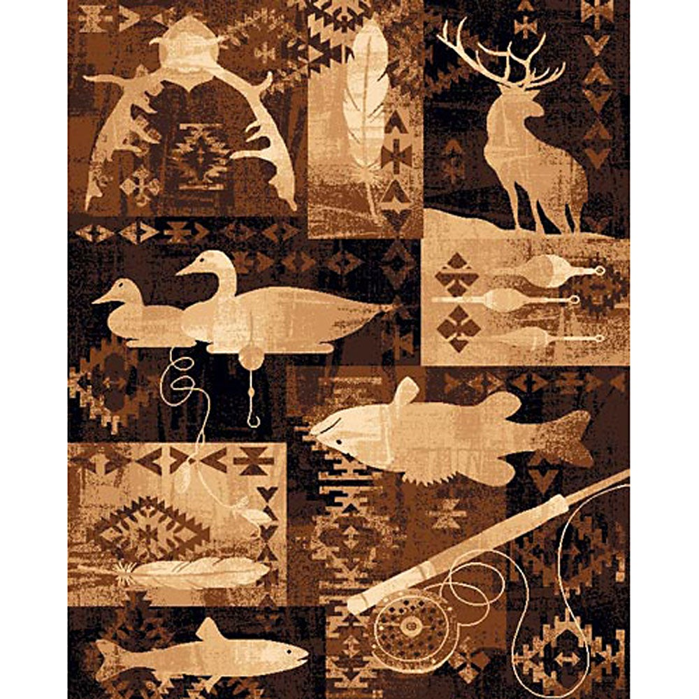 Fish U0026 Deer Brown Area Rug