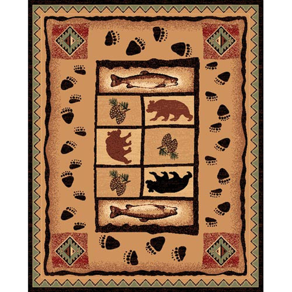 Fish & Bear Brown Rug (5'x7')
