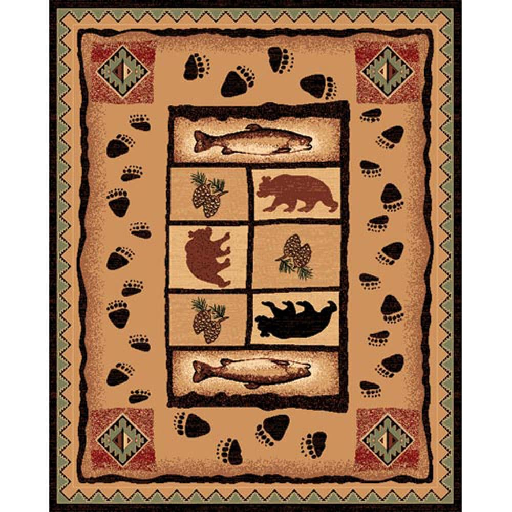 Fish & Bear Brown Rug (5'x7') - Thumbnail 0