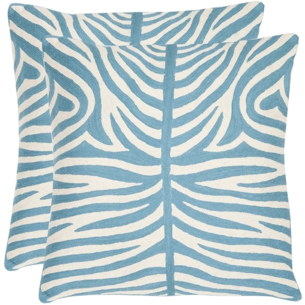Safavieh Tiger Stripes 22-inch Embroidered Blue Decorative Pillows (Set of 2)