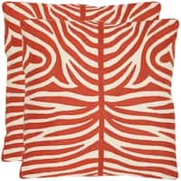 Safavieh Tiger Stripes 22-inch Embroidered Orange Decorative Pillows (Set of 2)