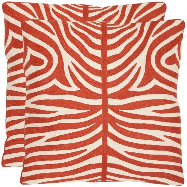 Safavieh Tiger Stripes 18-inch Embroidered Orange Decorative Pillows (Set of 2)