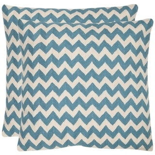 Safavieh Zig-Zag 22-inch Embroidered Blue Decorative Pillows (Set of 2)