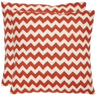 Safavieh Zig-Zag 22-inch Embroidered Orange Decorative Pillows (Set of 2)