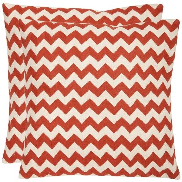 Safavieh Zig-Zag 22-inch Embroidered Orange Decorative Pillows (Set of 2)