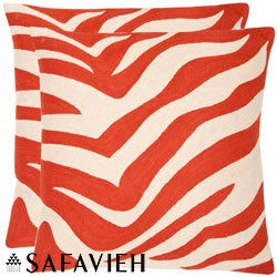 Safavieh Stripes 22-inch Embroidered Orange Decorative Pillows (Set of 2)